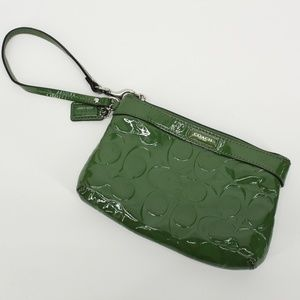 Coach Green Logo Patent Leather Wristlet